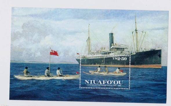 TONGA NIUAFO'OU (1987)SHIP CANOE Centenary Postage Stamps Souvenir Sheet
