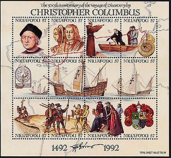 TONGA NIUAFO-OU (1992)- Columbus Anniversary Sheet of 12v