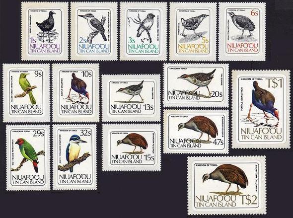 TONGA-NIUAFO-OU- BIRD SET OF 15 VALUES (1983)