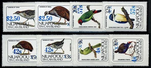 TONGA-NIUAFO-OU- BIRD SURCHARGED SET OF 8 VALUES (1986)