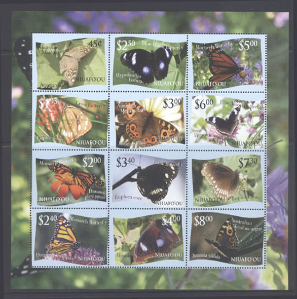TONGA/NIUAFOU'OU (2012) - Butterflies- Sheet of 12