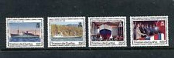 TRISTAN DA CUNHA ( 1990) SHIP Launching  (4v)
