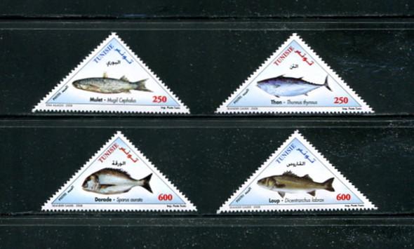 TUNISIA (2008) - Fish- triangle stamps (4)