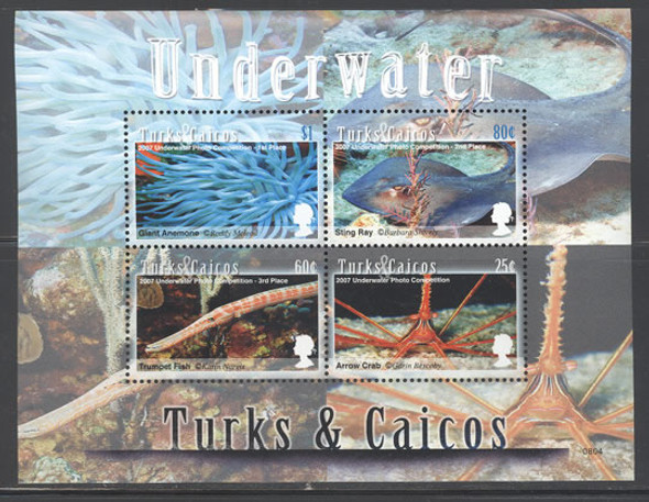TURKS & CAICOS- Underwater Photo Competition- sheet of 4 & souvenir sheet