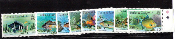 TURKS & CAICOS-1981 FISH/CORAL  DEFINITIVES -8  VALUES