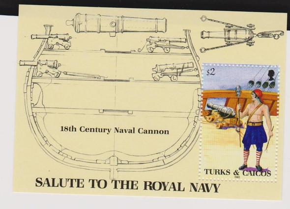 TURKS CAICOS (1985 ) ROYAL NAVY Gunner Cannons SS (1v)