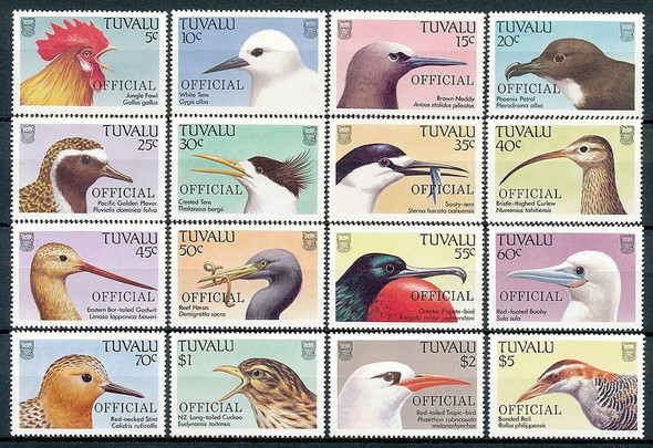 TUVALU (o33-48)- BIRDS- OFFICIALS OF 1989- 16 VALUES
