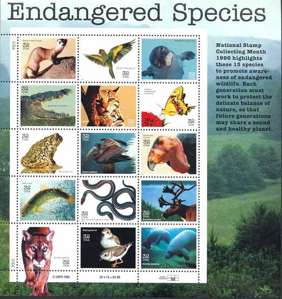 U.S. (1996)  - Endangered Species Sheet of 15v- Scott #3105