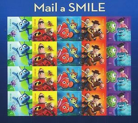 Disney/Pixar Mail A Smile - Stamp Set of 20