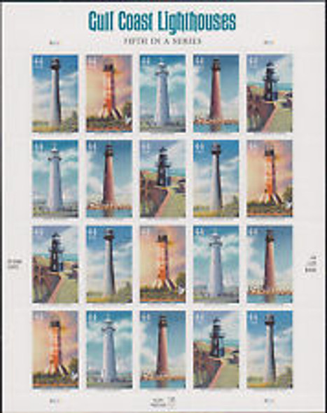 U.S.- Gulf Coast Lighthouses 5th in series- self-adhesive sheet