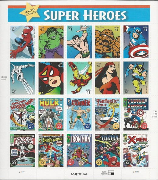 US (2007)- Marvel Comics Super Heroes - Stamp Set of 20- #4159