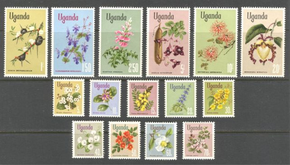 UGANDA (1969) - FLOWERING PLANTS ON UGANDA DEFINITIVES (15v)