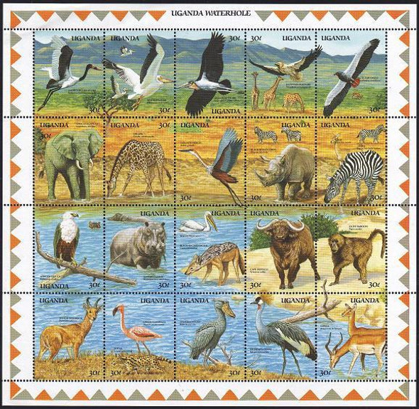 UGANDA (1989)-AFRICAN WILDLIFE SHEET OF 20
