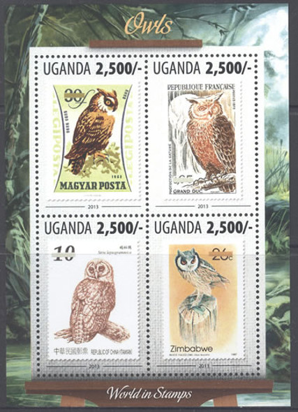 UGANDA: Owls 2013- Sheet of 4- stamp on stamp
