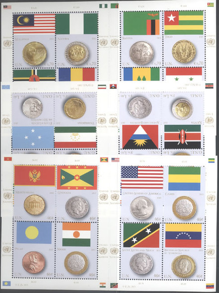 UNITED NATIONS- Coins and Flags 2013- Sheets of 8 (3)