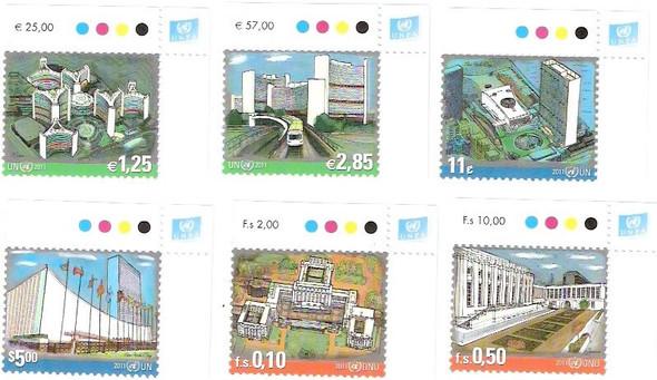 UNITED NATIONS- Definitives 2011 Inscription Blocks (6)