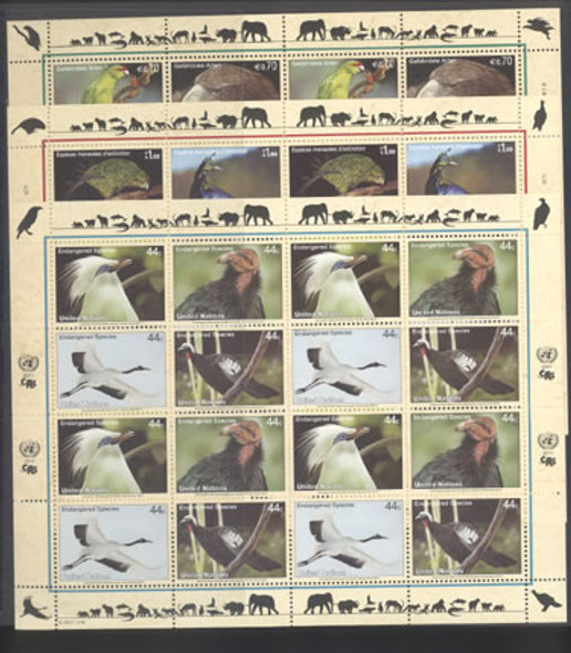 UNITED NATIONS- Endangered Species- mini-sheet of 4 sets (3)