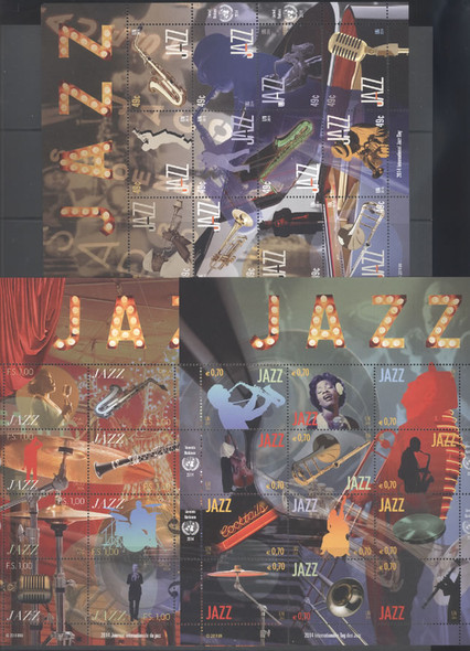 UNITED NATIONS- International Jazz Day 2014- Sheets of 12- musicians- instruments (3)
