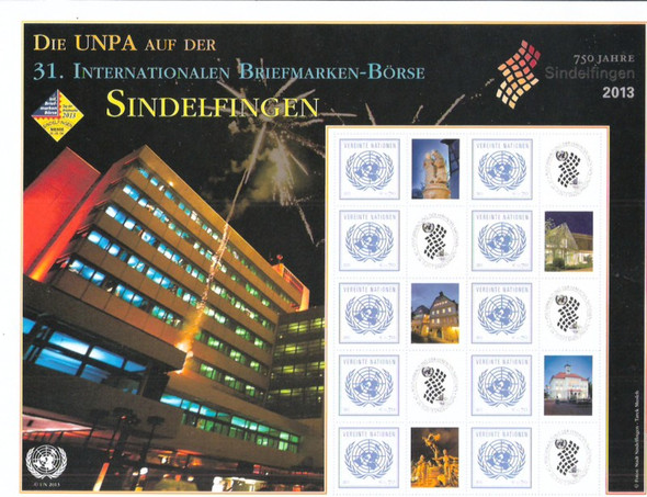 UNITED NATIONS- Sindelfingen Stamp Show 2013 Personalized- Sheet of 10 w/views labels