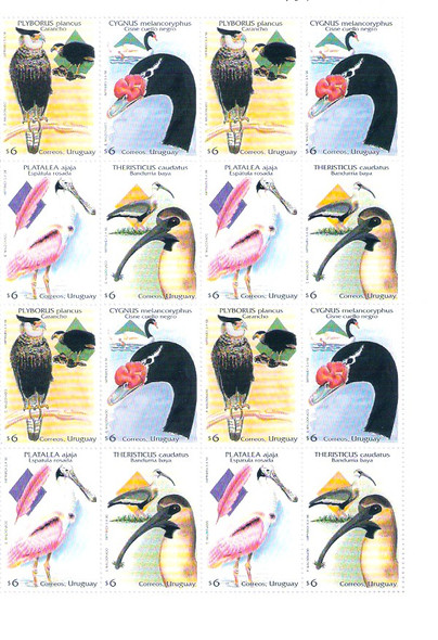URUGUAY (1998)- BIRD SHEET OF 4 SETS #1718