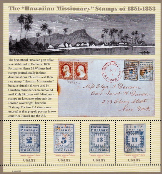US (2002) : Rare Hawaii Missionary Stamps (Reprints) Sheet- #3694