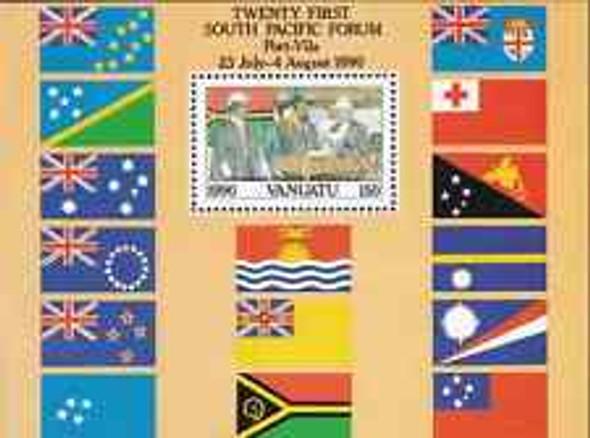 VANUATU (1990) South Pacific Forum,  World Flags SS