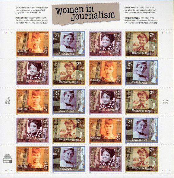 US (2002)- Women in Journalism Sheet of 20 -SC# 3665-8