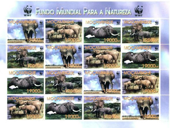 WWF Elephants Sheetlet of 4 sets