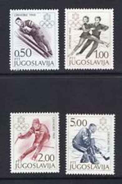 YUGOSLAVIA 1968 Winter Olympics Skating Skiing Ice Hockey (4v)
