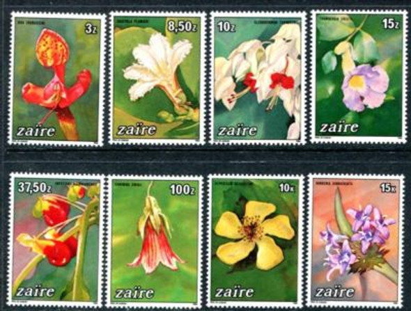 ZAIRE (1984)- FLOWER SET OF 8 VALUES