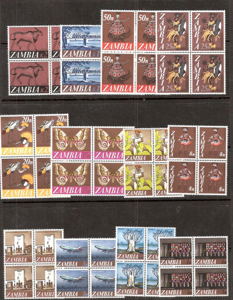 ZAMBIA (1968)- 12v DEFINITIVES BLOCKS-CAT>$75!