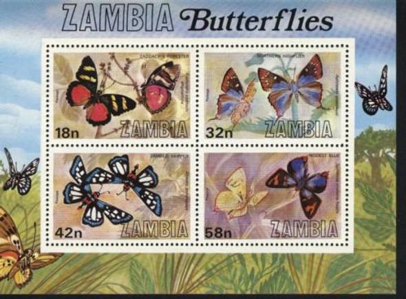 ZAMBIA (1980)-BUTTERFLIES- 4v & SOUVENIR SHEET