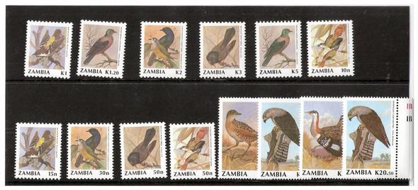 ZAMBIA(1991): Bird Type of 1987- 14 VALUES