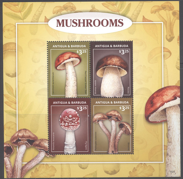 ANTIGUA- Mushrooms 2015- Sheet of 4- marked 1525