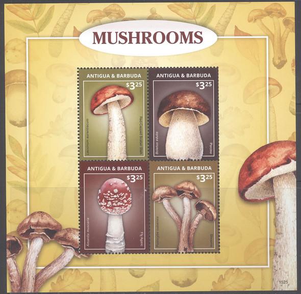ANTIGUA- Mushrooms 2015- Sheet of 4- marked 1525