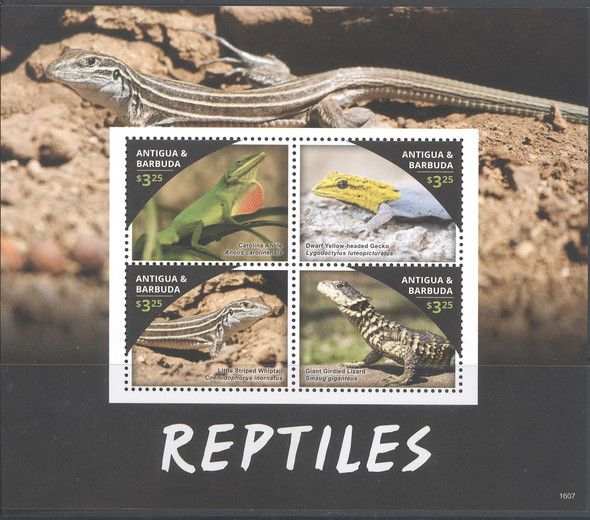 ANTIGUA- Reptiles 2016- Sheet of 4- lizard- gecko- anole- 1607