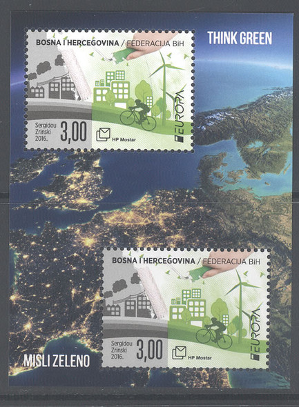 BOSNIA- CROAT Europa 2016 Think Green- Sheet of 2