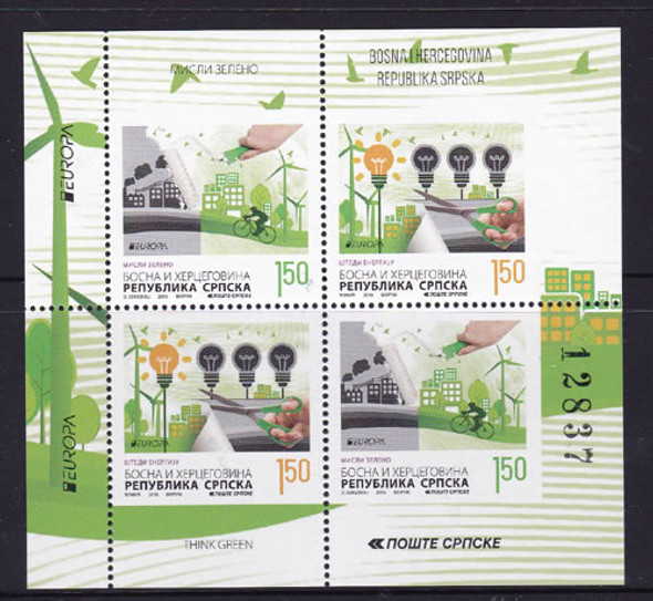 BOSNIA- SERB Europa 2016 Think Green- Sheet of 4