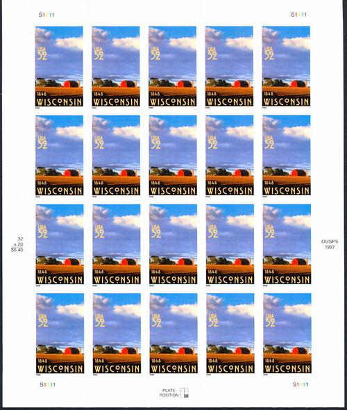US (1998) - 32c Wisconsin Sheet of 20- SC#3206