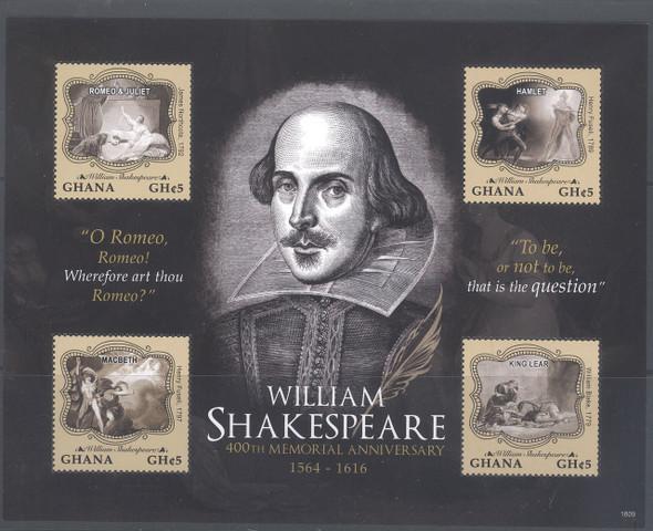 GHANA (2017) Shakespeare 400th Memorial- Sheet of 4- Romeo- Hamlet- Macbeth- King Lear
