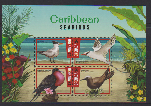GRENADA- Caribbean Seabirds- Sht of 4- tern- frigate- noddy etc- 1626