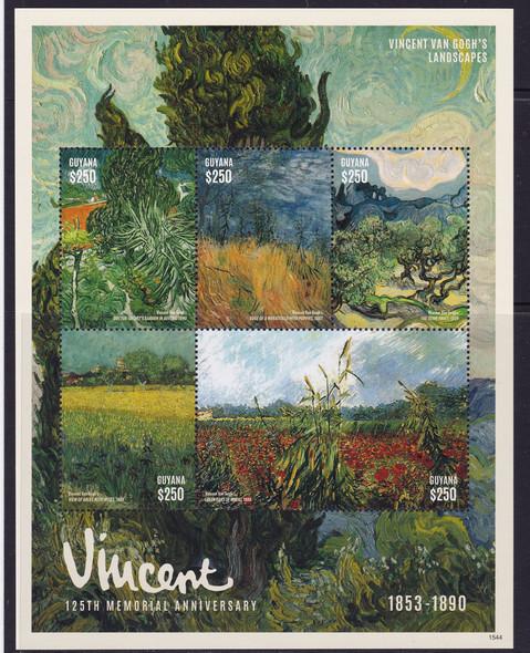 GUYANA- Van Gogh Paintings Memorial Anniversary- Sheet of 5