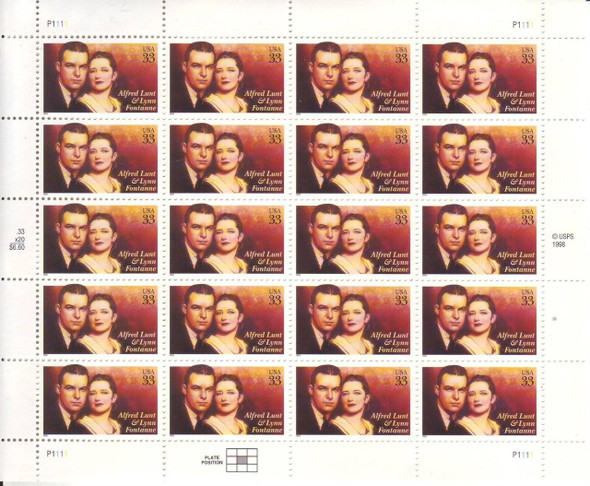 US (1999) 33c Alfred Lunt & Lynn Fontaine  Sheet
