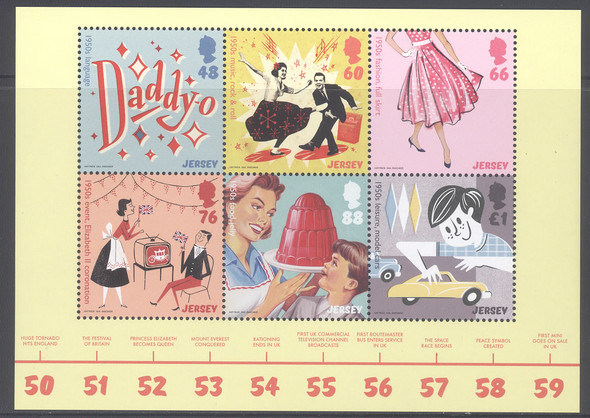 JERSEY- 1950s Culture- Sheet of 6 with timeline in border