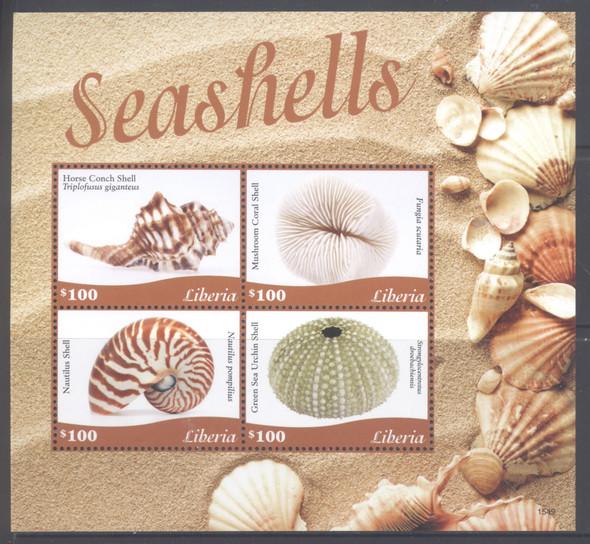 LIBERIA- Seashells 2015- Sheet of 4- 1549