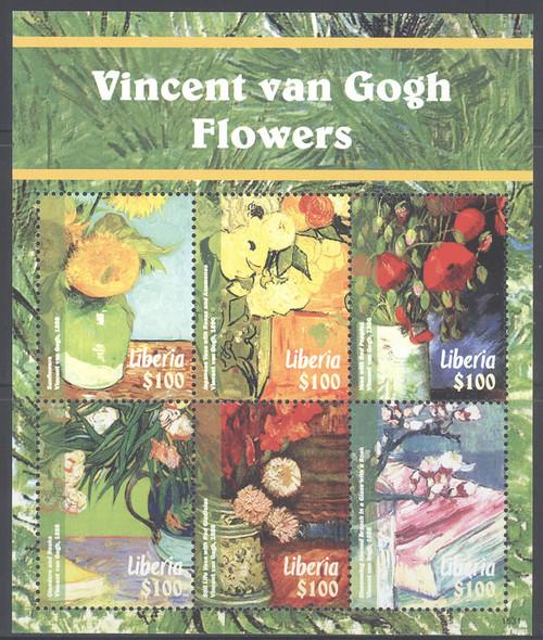 LIBERIA- Van Gogh Flower Paintings 2015- Sheet of 6- 1531