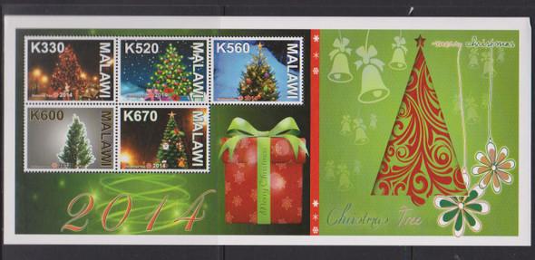 MALAWI- Christmas Trees 2014- Sheet of 5 with border graphics
