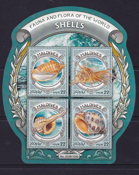 MALDIVES- Shells 2016- Sheet of 4
