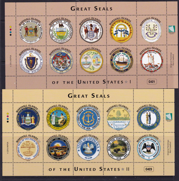 MARSHALL ISLANDS State Seals of US I and II- Sheets of 10 (2)