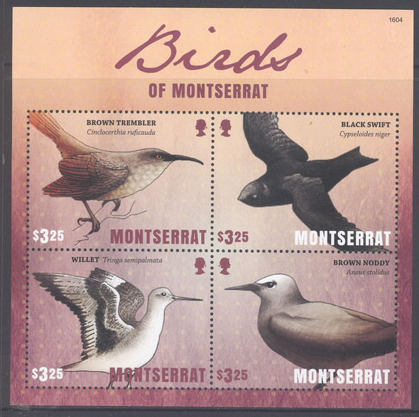 MONTSERRAT- Birds- Sheet of 4- Trembler- Black Sweft etc 1604